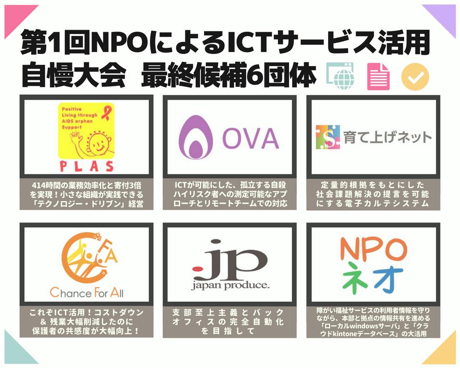 第1回 NPOによるICTサービス活用自慢大会、最終候補6団体が決定!および公開プレゼンテーション観覧者の募集のお知らせ